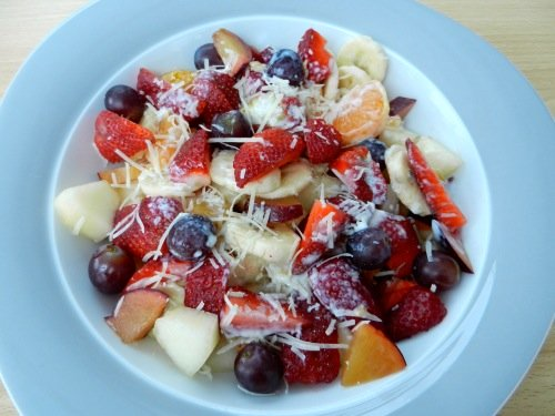 Strawberry Fruit Salad with Cream and Cheese