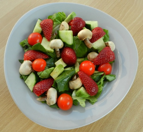 Yummy Strawberry Salad with Lettuce and Veggies
